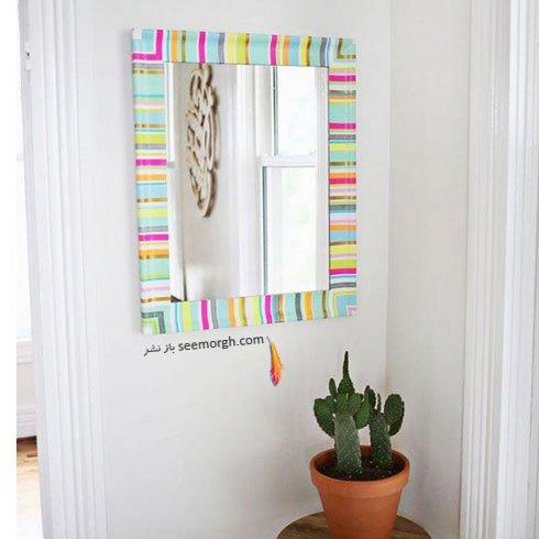 یک آینه رنگارنگ برای دکوراسیون خانه تان درست کنید