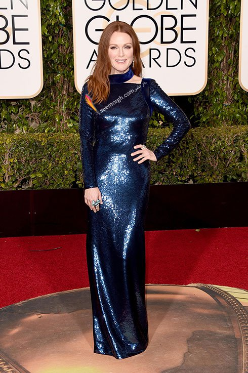 مدل لباس جولین مور Julianne Moore در گلدن گلوب Golden Globes 2016 از برند Tom Ford