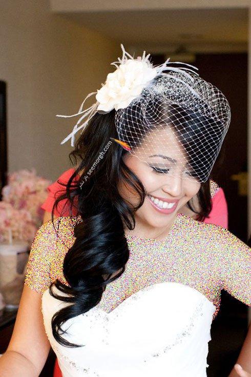 تزیین موی عروس با تور کوتاه و گل - مدل شماره 11