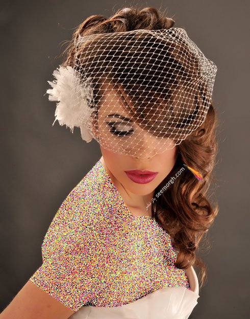 تزیین موی عروس با تور کوتاه و گل - مدل شماره 1