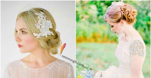 تزیین موی عروس با تور کوتاه و گل - مدل شماره 2