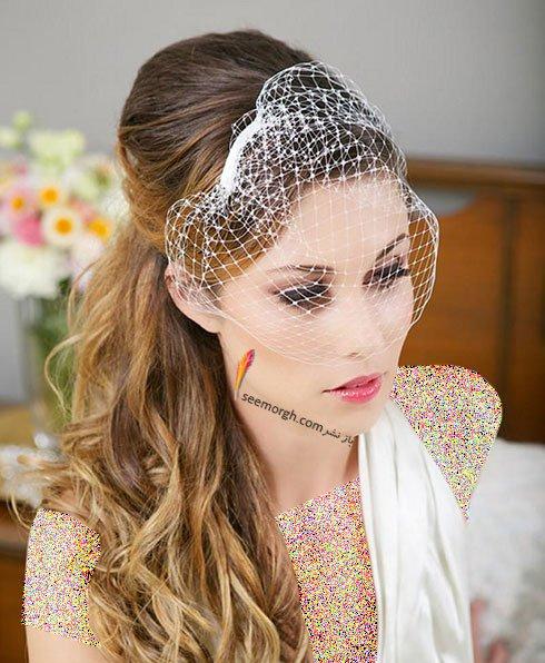 تزیین موی عروس با تور کوتاه و گل - مدل شماره 10