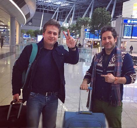 امیر تاجیک و برادرش در فرودگاه