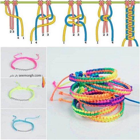 آموزش تصویری چگونه درست کردن دستبندهای بافتنی در منزل
