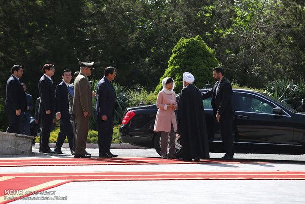 تصاویر مراسم استقبال رسمی روحانی از رییس جمهور خانم کره جنوبی