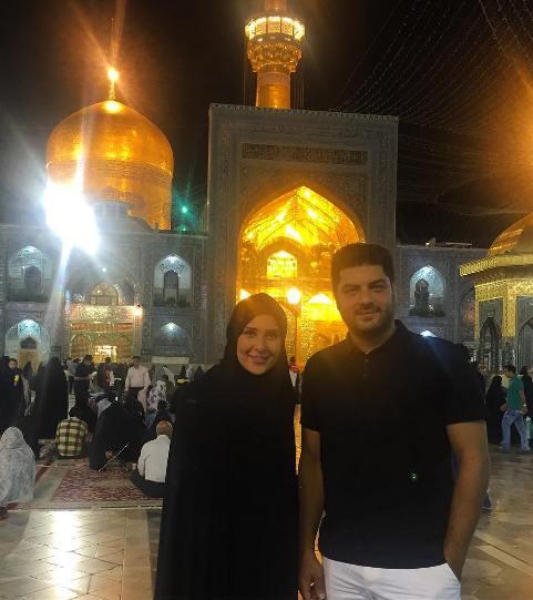 سام درخشانی و همسرش در مشهد