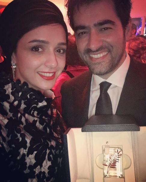 ترانه علیدوستی و شهاب حسینی با نخل طلا در یک قاب