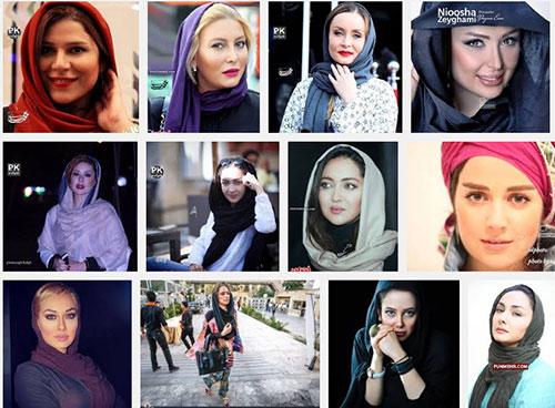 بنر عجب با عکس های بازیگران زن ایرانی برای مبارزه با بدحجابی + عکس