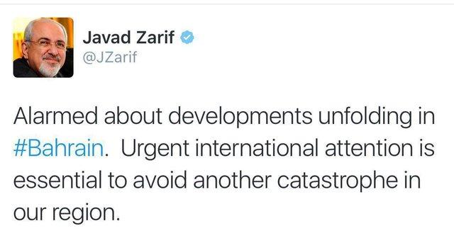 ظریف در توئیت اخیر خود نسبت به تحولات بحرین هشدار داد