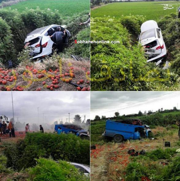 تصادف شدید یک دستگاه سانتافه با نیسان /عکس