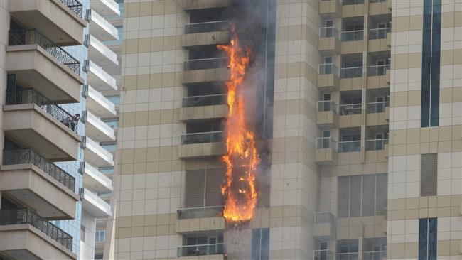 برج سلافه دبی طعمه حریق شد /عکس