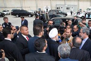 تصاویری از استقبال از حسن روحانی در فرودگاه نیویورک
