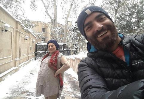 عکس برفی یکتا ناصر و همسرش