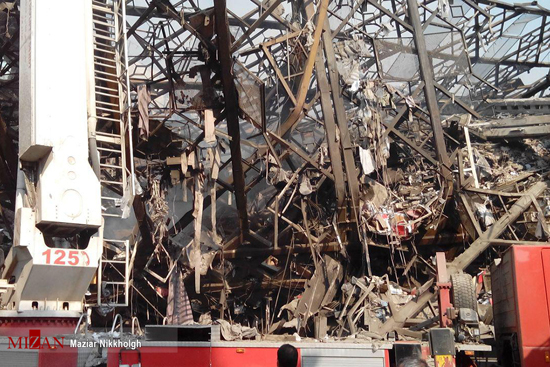 تصاویری از فروریختن کامل ساختمان پلاسکو