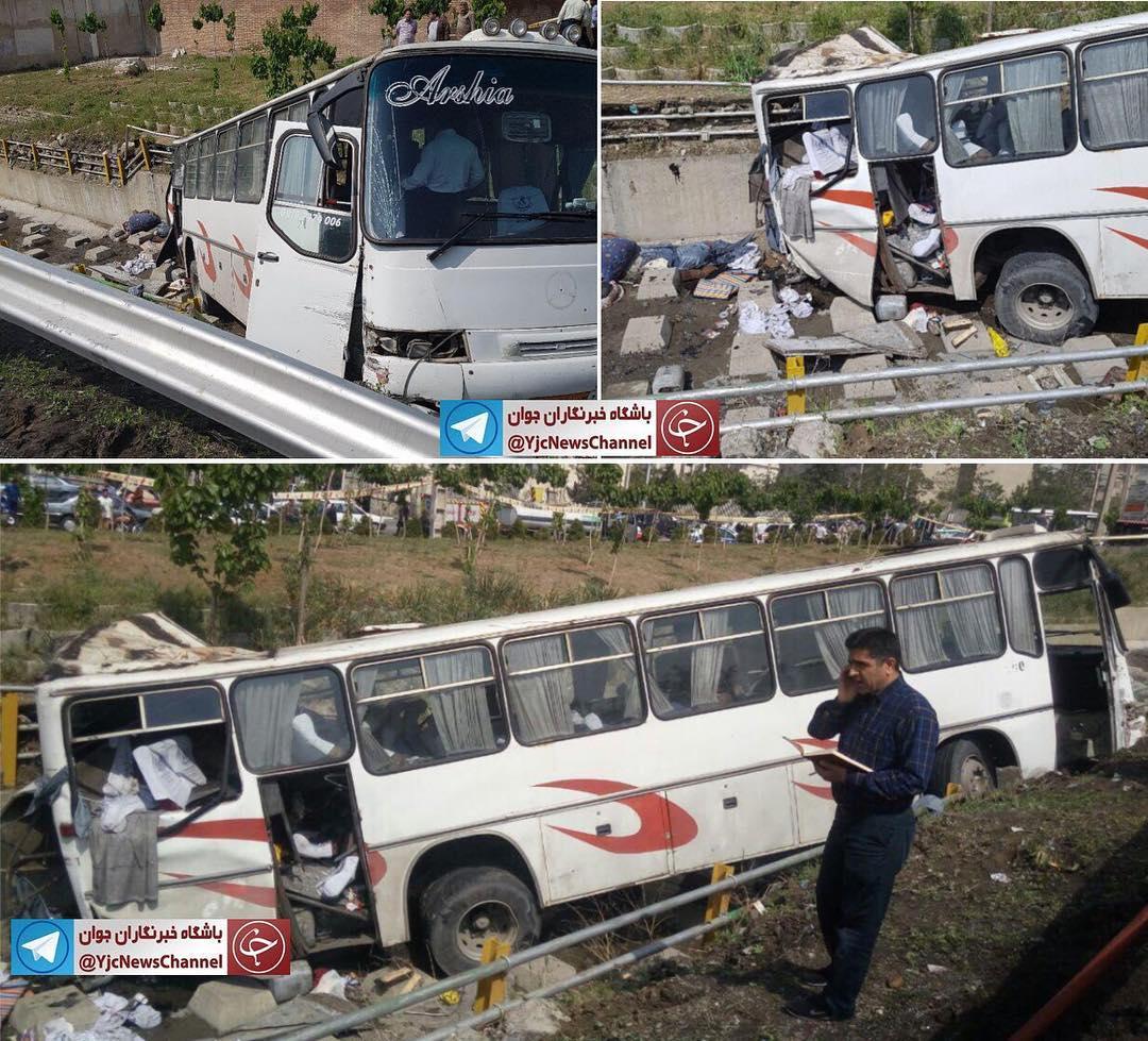 یک دستگاه اتوبوس حامل دانش آموزان در بزرگراه یادگار  امام تهران واژگون شد
