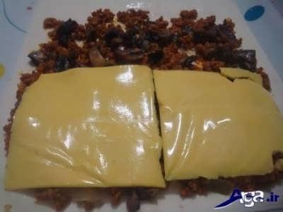 رولت گوشت و قارچ و پنیر