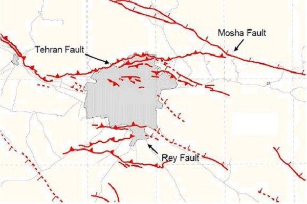 نقشه گسلهای تهران