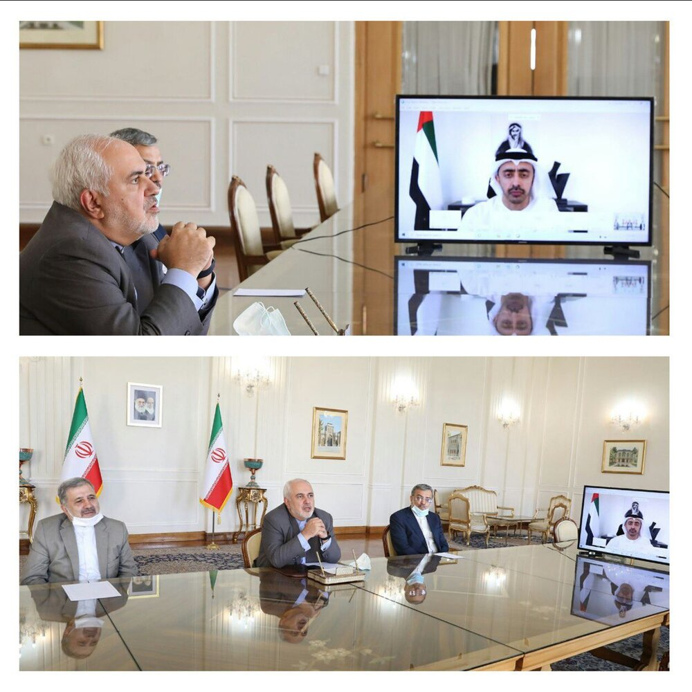 نشست ویدئویی ظریف با وزیر امور خارجه امارات