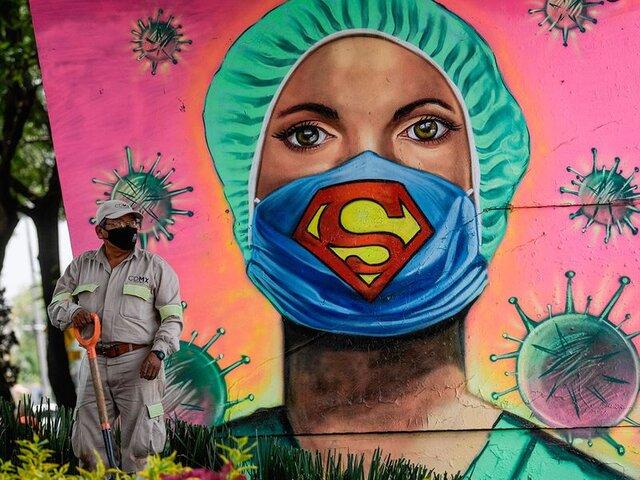 نقاشی های زیبا با موضوع کرونا روی دیوار
