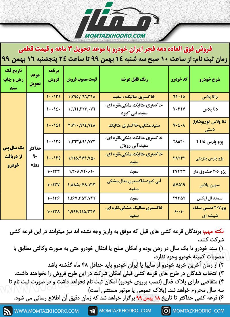 شرایط فروش ویژه ایران خودرو و ثبت نام دهه فجر 99