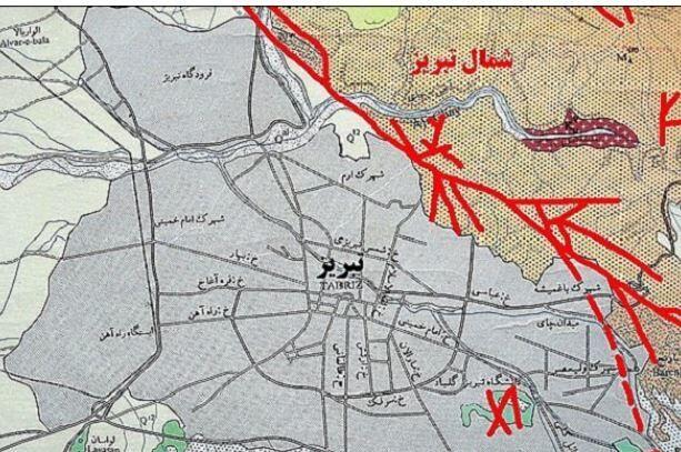 محل دقیق گسل تبریز روی نقشه